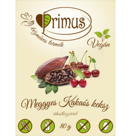 PRIMUS KAKAÓS-MEGGYES GLUTÉNMENTES&VEGÁN KEKSZ 80G