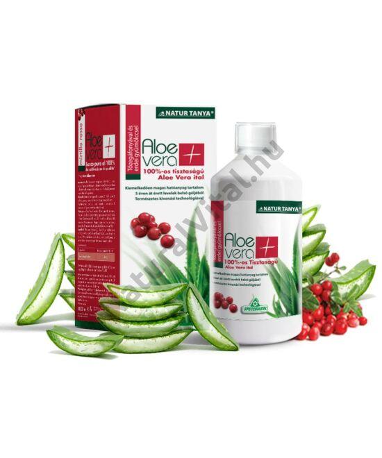 Specchiasol® Aloe Vera ital Vörösáfonyás - 8000 mg/liter acemannán tartalommal! IASC logó a dobozon.