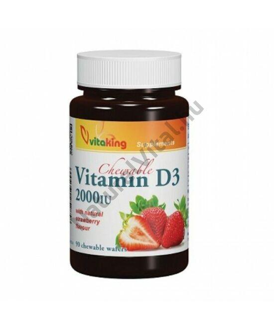 Vitaking D3-vitamin 2000NE rágótabletta eper ízben 90db